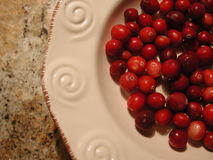 Cranberries in a Bowl. Bright red cranberries in a bowl on a granite counter Stock Photography