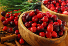 Cranberries in bowls Stock Photography