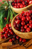 Cranberries in bowls stock photos