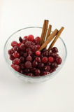 Cranberries and cinnamon. Rolls on a plate Royalty Free Stock Images