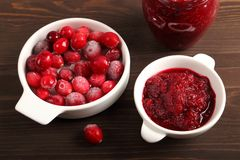 Cranberries and cranberry jam. Stock Photography