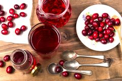 Cranberries and cranberry juice in a glass royalty free stock photos