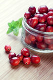 Cranberries in a glass jar royalty free stock image