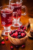 Cranberries with hot mulled wine Stock Photos