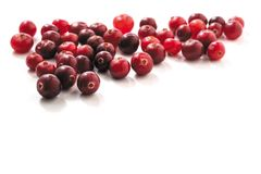 Cranberries isolated on white background. Fresh raw cranberries isolated on white background. closeup Stock Photography