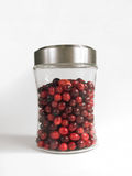 Cranberries in Jar. Jar of Fresh Cranberries on White Background royalty free stock photos