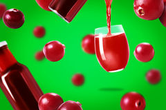 Cranberries juice  and cranberries Royalty Free Stock Images