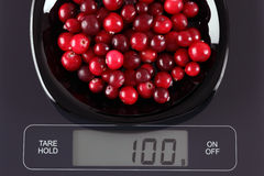 Cranberries on kitchen scale Royalty Free Stock Image