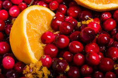 Cranberries and orange making cranberry sauce Stock Photo