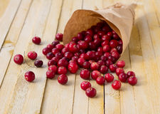 Cranberries in paper bag Royalty Free Stock Photos