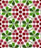 Cranberries Pattern. Scandinavian geometric pattern with stylized cranberries and cowberries on white background. Vector seamless repeat Royalty Free Stock Photography