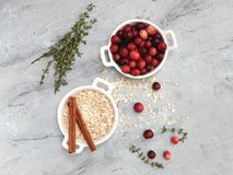 Cranberries pie ingredients flat lay royalty free stock images