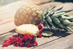 Cranberries and pineapple Stock Photos