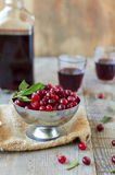 Cranberries and  red wine. Cranberries and  glasses of red wine on wooden table Stock Photos
