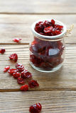 Cranberries in a small jar Stock Photo
