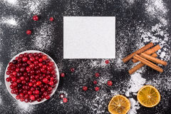 Cranberries with sugar powder dryed lemon stock photo