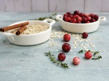Cranberries, thyme and pie ingredients stock images