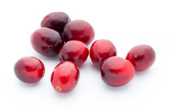 Cranberries top view. Red, ripe cranberries macro view. Royalty Free Stock Images