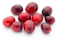 Cranberries top view. Red, ripe cranberries macro view. Royalty Free Stock Photo