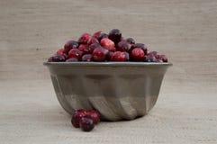 Cranberries w metal foremce z Luźnymi jagodami Obrazy Royalty Free