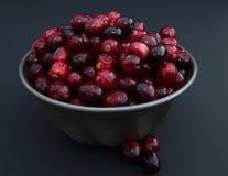 Cranberries w metalu Rzucają kulą od above przeciw czarnemu tłu Zdjęcia Stock