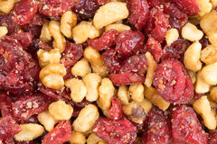 Cranberries and walnuts close view Royalty Free Stock Images