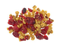 Cranberries and walnuts on a white background Stock Photo