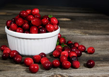 Cranberries White Bowl. Freshly washed raw cranberries in white bowl sitting on rustic wood planks Royalty Free Stock Photos