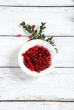 Cranberries in a white bowl with branch Royalty Free Stock Image