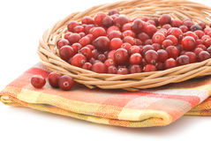Cranberries in a wicker tray Royalty Free Stock Photography