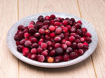 Cranberries in a wicker tray Royalty Free Stock Photos