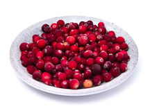 Cranberries in a wicker tray Royalty Free Stock Images