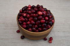 Cranberries in Wood Bowl from Above Stock Images