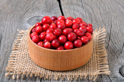Cranberries in wooden bowl Stock Photography