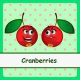 Cranberry, śmieszni charaktery na zielonym tle ilustracji