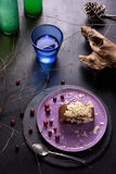 Cranberry almond cake, organic lemonade, tree branches. Natural healthy dessert concept. Stock Photo