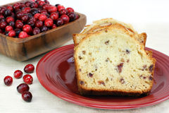Cranberry Almond Pound Cake with copy space. Stock Photo