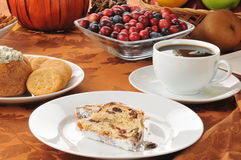 Cranberry almond stollen with coffee Stock Photos