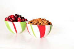 Cranberry & almonds in a bowl Stock Photos