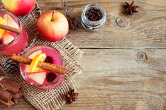 Cranberry and apple cider. Delicious festive cranberry and apple cider holiday punch - homemade Christmas drinks, copy space stock images