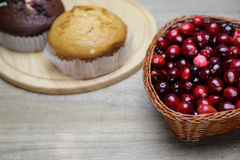 Cranberry in a basket Stock Photo