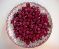 Cranberry berries on a platter. stock photos
