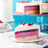 Cranberry, bilberry, raspberry tart, mousse cake. Cranberry, bilberry, raspberry tart, mousse cake, pie, cheesecake with fresh bilberries on a blue wooden Royalty Free Stock Photo