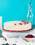 Cranberry, bilberry tart, mousse cake, cheesecake. Cranberry, bilberry, raspberry tart, mousse cake, pie, cheesecake with fresh bilberries on a blue wooden Royalty Free Stock Image