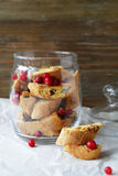 Cranberry biscotti in jar Stock Image