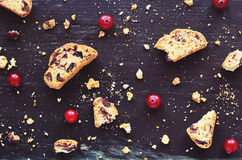 Cranberry biscotti on wooden background Stock Images