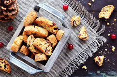 Cranberry biscotti in wooden box Stock Image