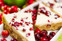 Cranberry bliss bar. Made with chunks of white chocolate and dried cranberries, topped with sweet cream cheese icing Stock Images