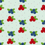 Cranberry and blueberry seamless pattern 1. Or illustration of cowberry and blackberry. Berries seamless pattern Stock Photo