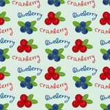 Cranberry and blueberry seamless pattern 6. Or illustration of cowberry and blackberry. Berries seamless pattern stock illustration